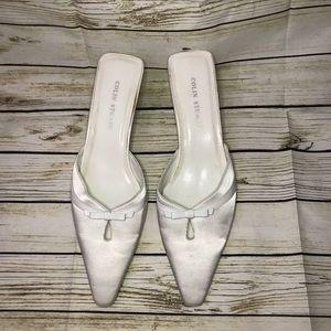 Colin Stuart White mules heels